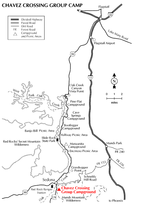 Sedona Chavez Campground Map