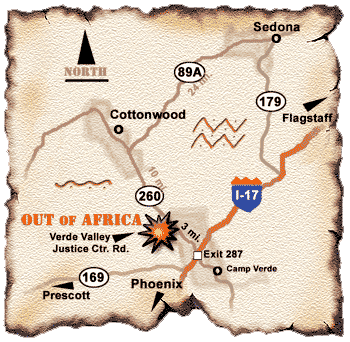 Map and Directions to Out of Africa Wildlife Park From Sedona